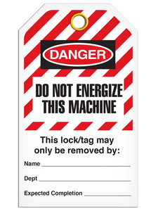 Lockout Do Not Energize Machine StripedTags