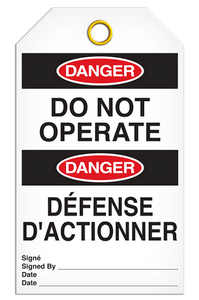 Danger English/French Operate Tags