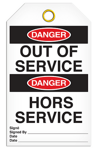 Danger English/French Service Tags
