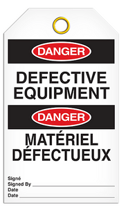 Danger English/French Defective Tags