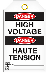 Danger English/French Voltage Tags