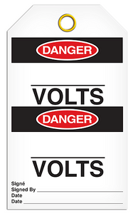 Danger English/French Volts Tags