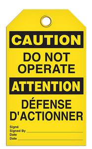 Caution English/French Operate Tags