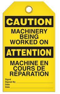 Caution English/French Machinery Tags