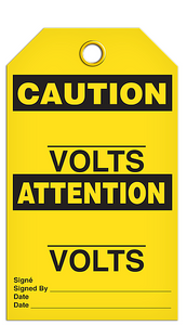 Caution Volts Tags