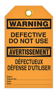 Warning English/French Defective Tags