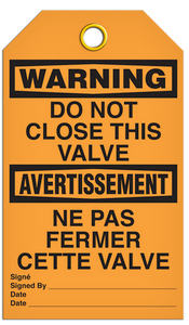 Warning English/French Valve Tags
