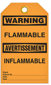 Warning English/French Flammable Tags