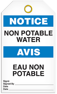 Notice English/French Potable Tags