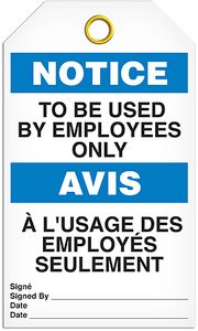 Notice English/French Employee Tags