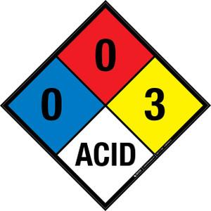 NFPA 704: 0-0-3 ACID - Wall Sign