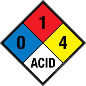 NFPA 704: 0-1-4 ACID - Wall Sign