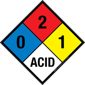 NFPA 704: 0-2-1 ACID - Wall Sign