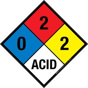 NFPA 704: 0-2-2 ACID - Wall Sign