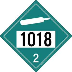 Non-flammable Gas: Class 2 - UN1018 - Placard Sign