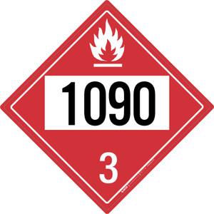 Flammable: Class 3 - UN1090 - Placard Sign