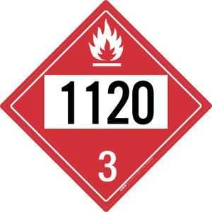 Flammable: Class 3 - UN1120 - Placard Sign