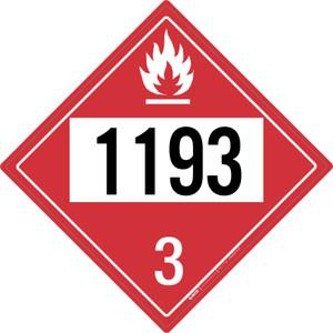 Flammable: Class 3 - UN1193 - Placard Sign