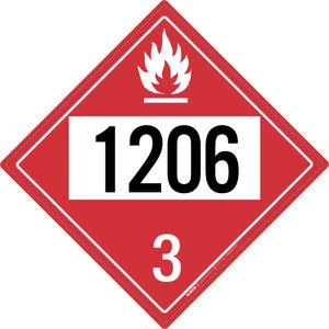 Flammable: Class 3 - UN1206 - Placard Sign