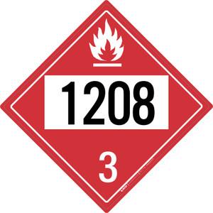 Flammable: Class 3 - UN1208 - Placard Sign