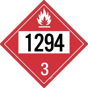 Flammable: Class 3 - UN1294 - Placard Sign