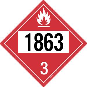 Flammable: Class 3 - UN1863 - Placard Sign