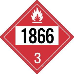 Flammable: Class 3 - UN1866 - Placard Sign