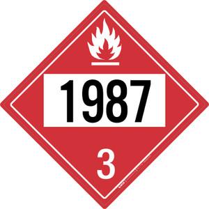 Flammable: Class 3 - UN1987 - Placard Sign