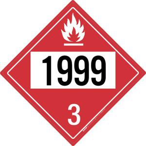 Flammable: Class 3 - UN1999 - Placard Sign