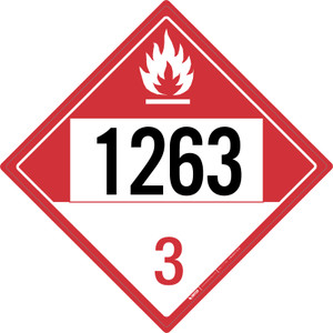 Combustible: Class 3 - UN1263 - Placard Sign