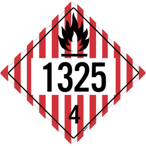 Flammable Solid: Class 4 - UN1325 - Placard Sign