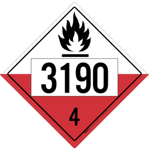 Spontaneously Combustible: Class 4 - UN1390 - Placard Sign