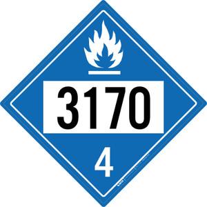 Dangerous When Wet: Class 4 - UN3170 - Placard Sign