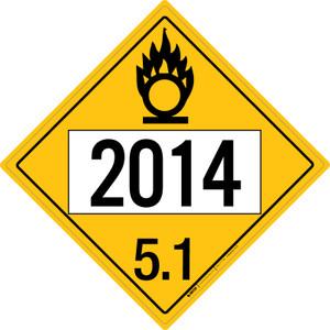 Oxidizer: Class 5.1 - UN2014 - Placard Sign