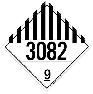 Hazard Class 9 - UN3082 - Placard Sign