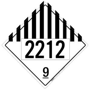 Hazard Class 9 - UN2212 - Placard Sign