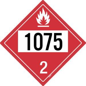 Flammable Gas: Class 2 - UN1075 - Placard Sign