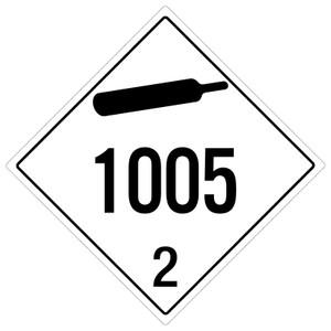 Non-flammable Gas: Class 2 - UN1005 - Placard Sign