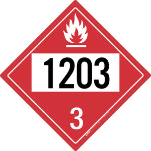 Flammable: Class 3 - UN1203 - Placard Sign