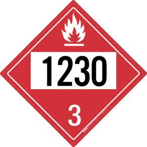 Flammable: Class 3 - UN1230 - Placard Sign