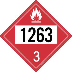 Flammable: Class 3 - UN1263 - Placard Sign
