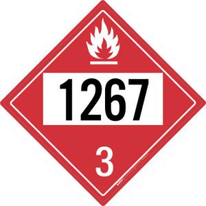 Flammable: Class 3 - UN1267 - Placard Sign
