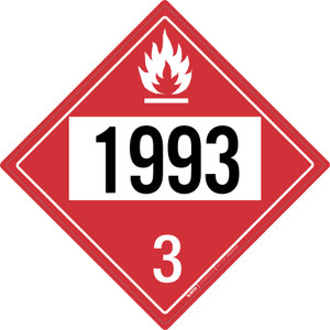 Flammable: Class 3 - UN1993 - Placard Sign