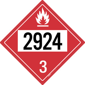 Flammable: Class 3 - UN2924 - Placard Sign