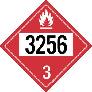 Flammable: Class 3 - UN3256 - Placard Sign