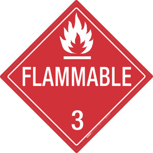 Flammable: Class 3 - Placard Sign