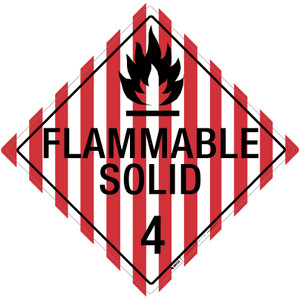 Flammable Solid: Class 4 - Placard Sign