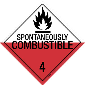 Spontaneously Combustible: Class 4 - Placard Sign