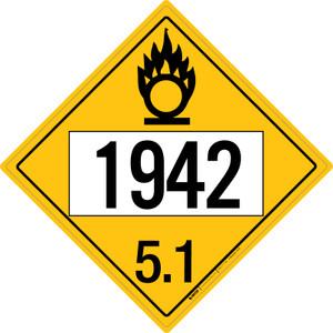 Oxidizer: Class 5.1 - UN1942 - Placard Sign