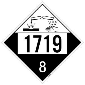 Corrosive: Class 8 - UN1719 - Placard Sign